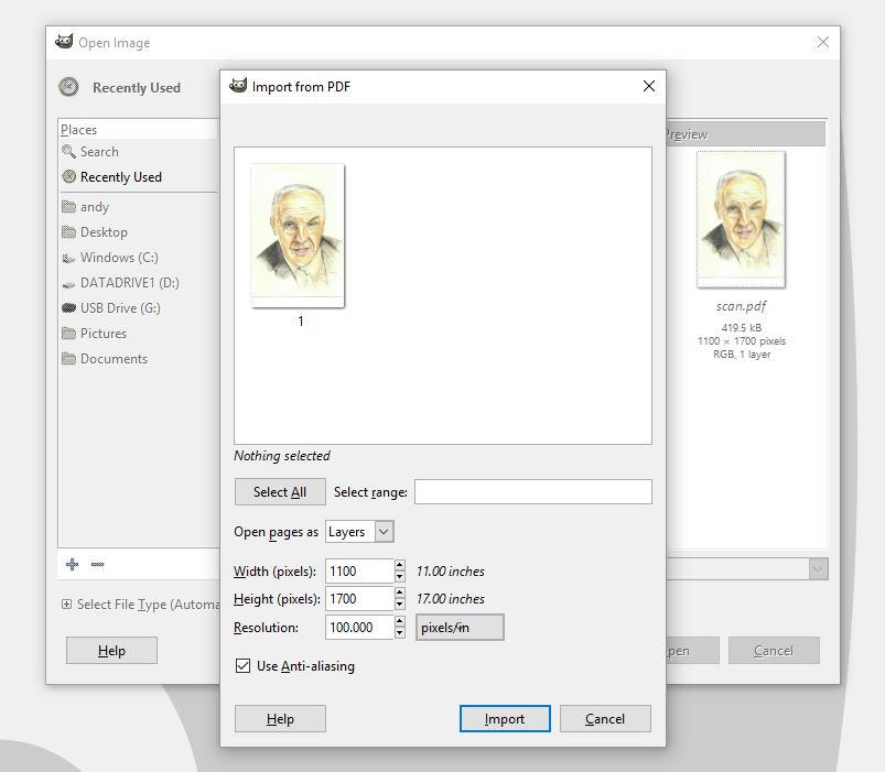 Convert a PDF to JPG using GIMP - Andy Powell