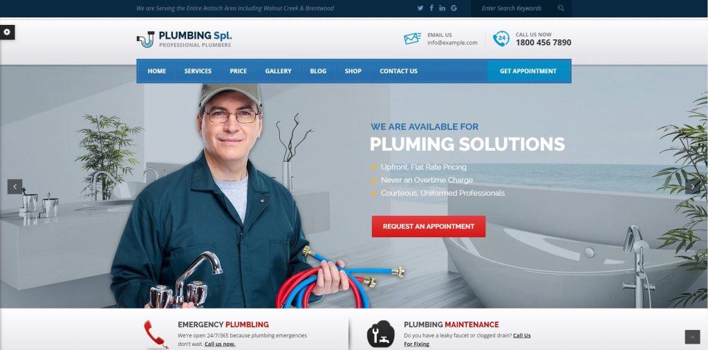 5 WordPress Plumbers website templates