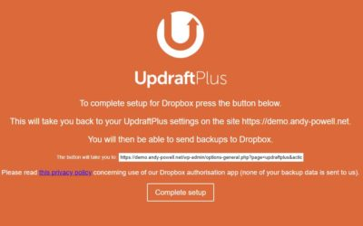 Scheduling backups with Updraft Plus